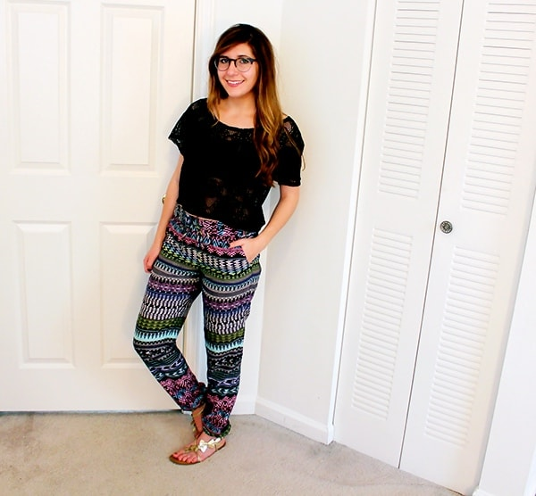Printed Challis Pants with elastic ankle hemlines and crochet crop top