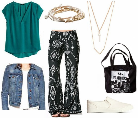 How to wear printed wide leg pants for daytime