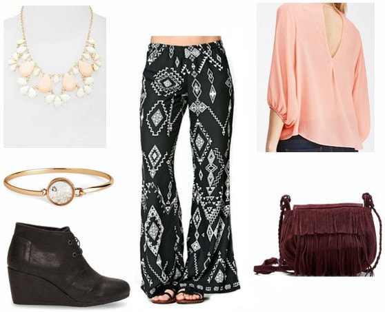 How to wear printed wide leg pants for a night out