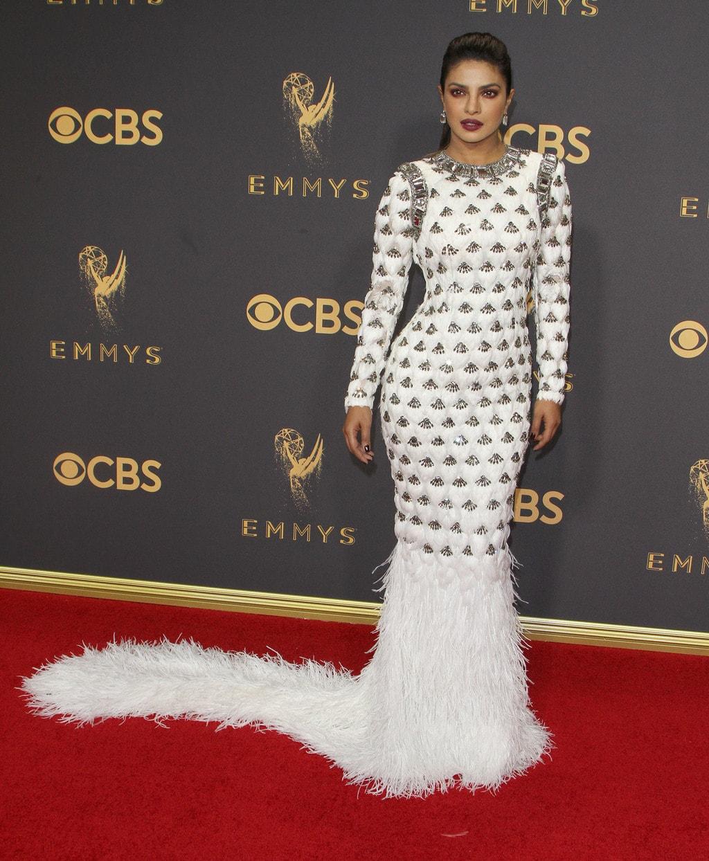 Priyanka Chopra in Balmain at the 2017 Emmy Awards