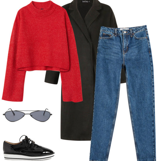 Priyanka Chopra Outfit: cropped red sweater, rich blue mom jeans, black long coat, black slim metal sunglasses, black patent oxfords