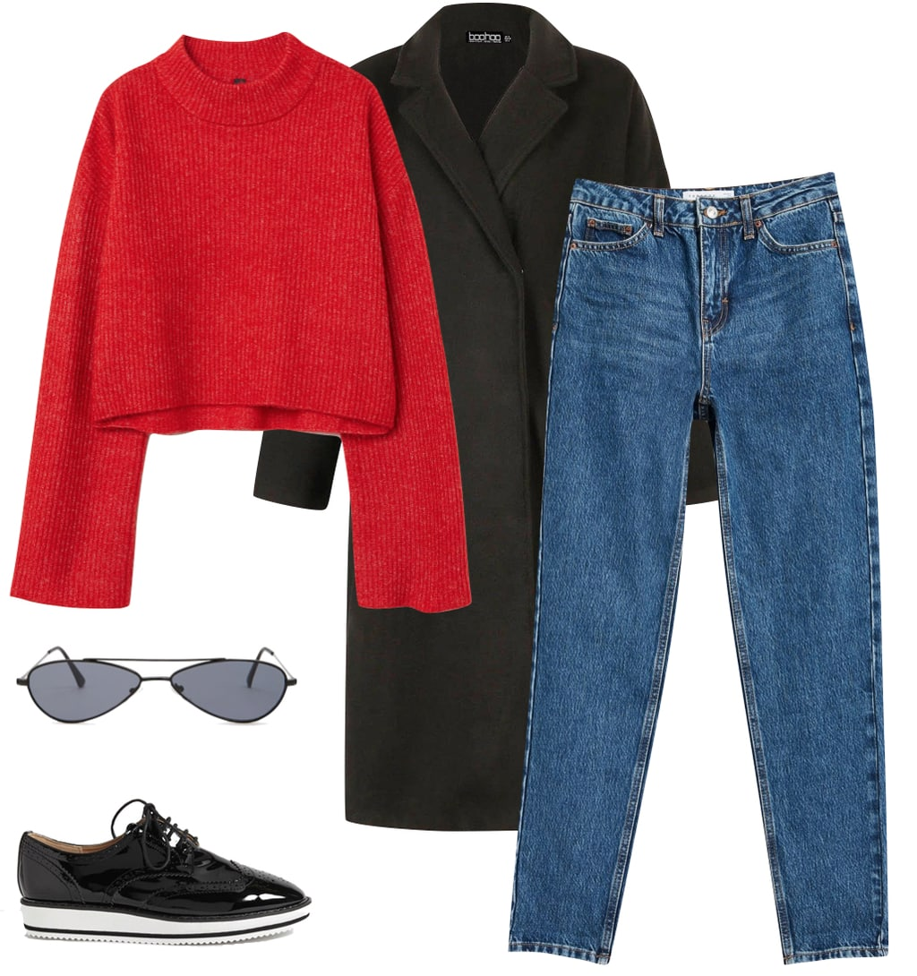 Priyanka Chopra Outfit: cropped red sweater, rich blue mom jeans, black long coat, black slim metal sunglasses, black patent oxfords