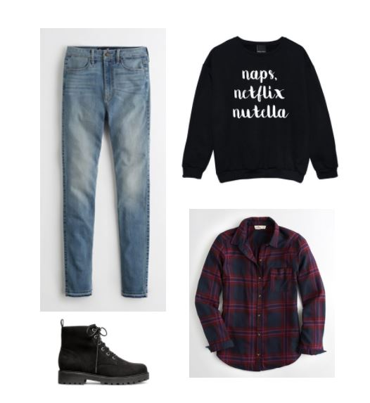 How to have a productive weekend. Comfy and cozy fall weekend outfit with skinny jeans, plaid shirt, Naps, Netflix, Nutella sweatshirt, lace-up booties