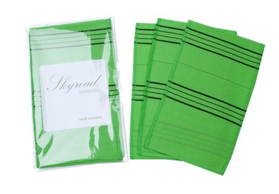 Skyroad™ Top Quality Exfoliating Scrub Bath Mitten in green with black stripes