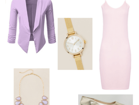 An outfit set of a lilac blazer, pink spaghetti strap dress, gold loafers, lavender statement necklace, and gold watch.