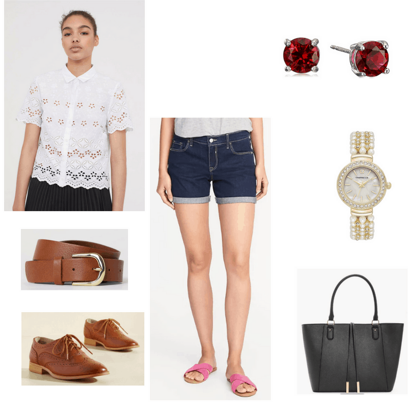 Summer Work Outfit with denim shorts, eyelet blouse, ruby studs, pearl watch, brown oxfords, brown belt, and black tote