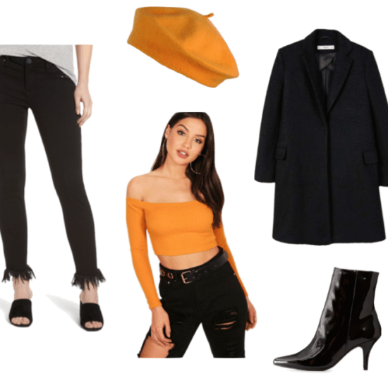 Professor Layton Outfit Set: Fringe Jeans, Structured wool coat, orange off-the-shoulder top, orange beanie, and a faux leather pointed toe heel