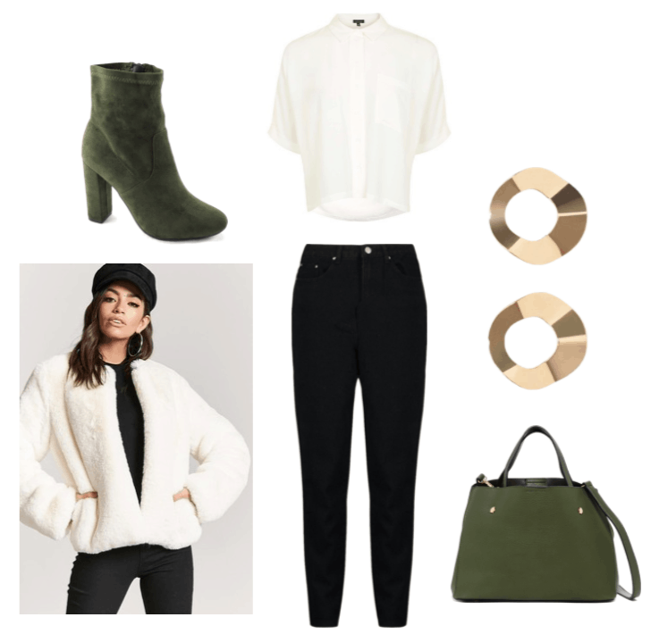 Professor Quack Spy Fox Outfit Inspiration: Twisted, gold hoop earrings, white button up, green booties, green faux leather tote, whit, faux fur coat and black skinny jeans