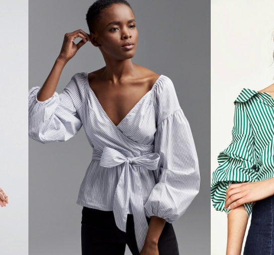 Puffy Sleeve Shirt Trend Shopping Guide (left to right): polka dot crop top with puffy sleeves from ASOS, deep v-neck blouse with tie around waist from Express, oversized menswear v-neck blouse with puffy sleeves from Zara.