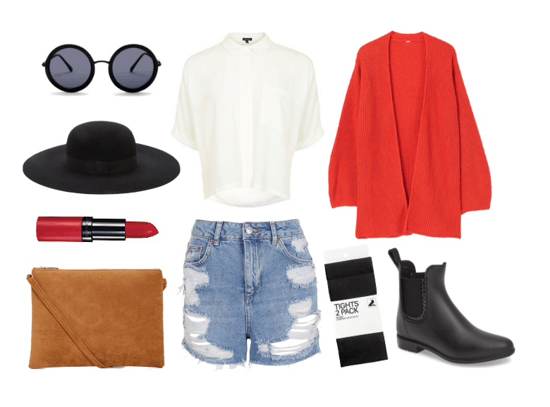 Cute outfits for fall: Pumpkin picking outfit with ripped shorts, button down shirt, orange cardigan, black boots, black opaque tights, red lipstick, wide brim hat
