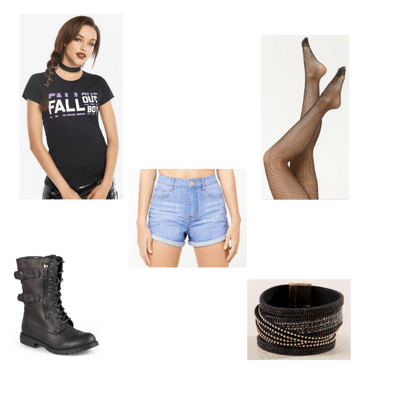 Outfit with Fall Out Boy tee, denim shorts, fishnet tights, combat boots, and studded bracelet