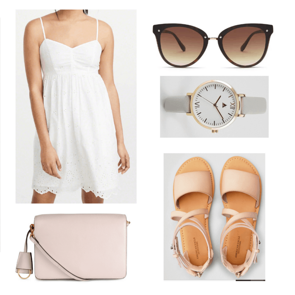 white dress, pink bag, cat eye sunglasses, grey watch, pink sandals