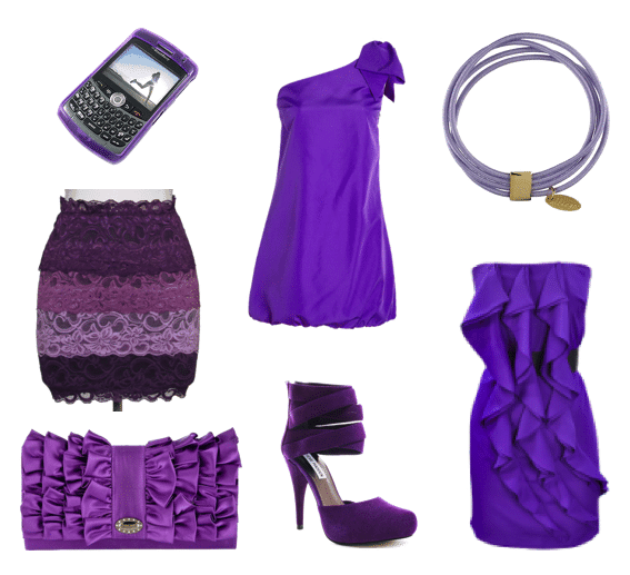 Purple dresses, skirts, shoes and accessories