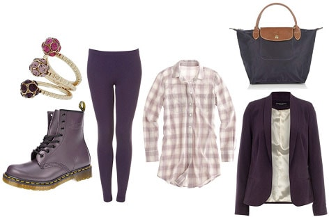 Monochrome purple outfit: Pants, plaid shirt, blazer, boots, tote bag