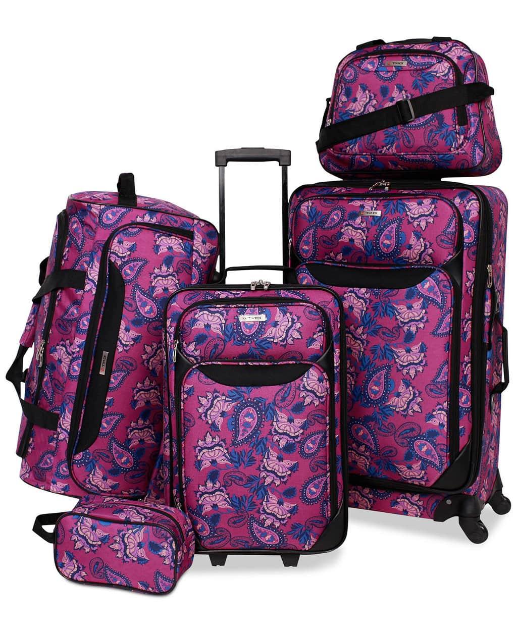 Purple printed luggage set