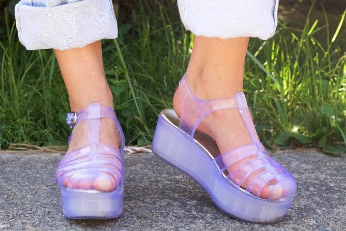 Purple platform jelly sandals