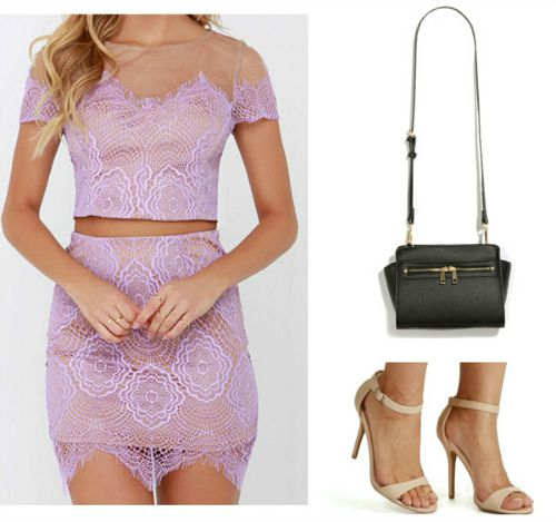 purple two piece dress and neutral sandals