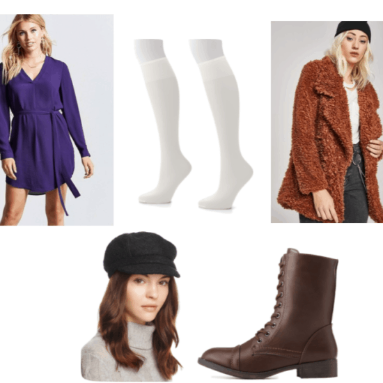 Putt-Putt Outfit Inspiration: Brown combat boots, purple chiffon self-tie dress, white sheer knee high socks, brown oversized fuzzy jacket, and a black newsboy cap.