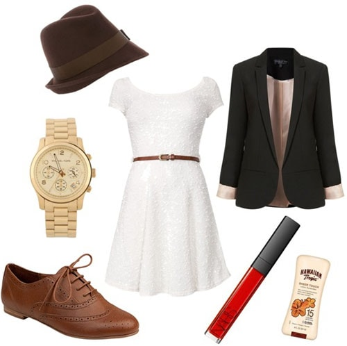 Outfit inspired by Queen Elizabeth 1: White lace dress, blazer, oxfords, hat, classic watch, lipstick