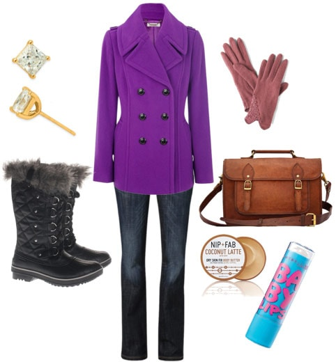 Outfit inspired by Queen Elizabeth 1: Purple coat, fur boots, jeans, diamond studs, gloves, satchel, lip balm