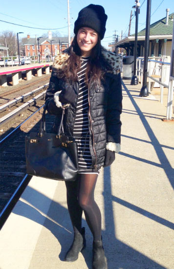 Fashion at Queens College - student wearing a quilted parka and striped dress