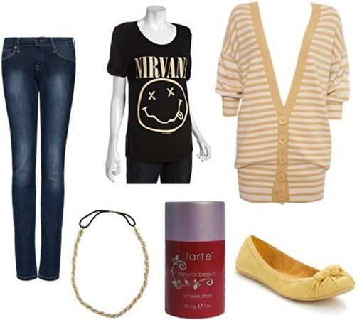 Quick & Easy Last-Minute Outfit 1: Striped cardigan, band tee shirt, basic dark wash jeans, colorful flats