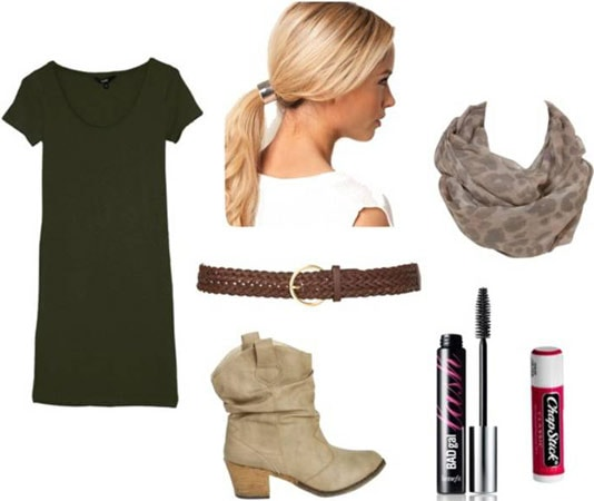 Quick & Easy Last-Minute Outfit 3: Tee shirt dress, boots, patterned scarf, ponytail, basic belt
