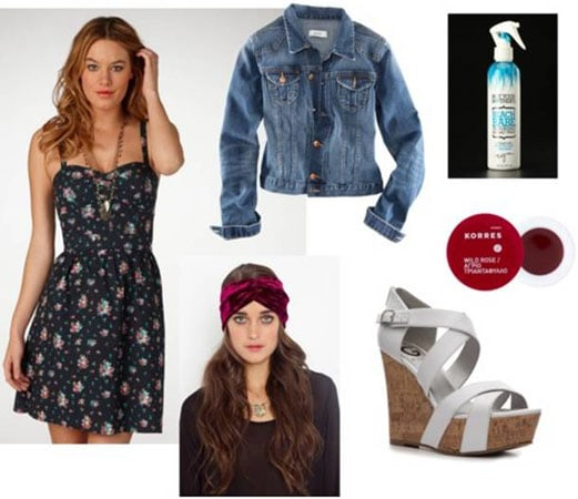 Quick & Easy Last-Minute Outfit 4: Floral dress, denim jacket,
