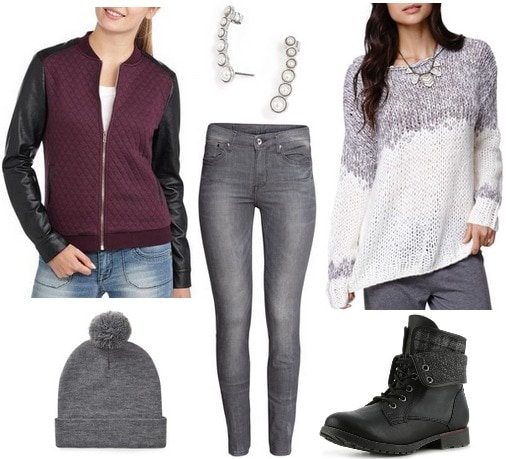 Quilted jacket, knit sweater, jeans, combat boots