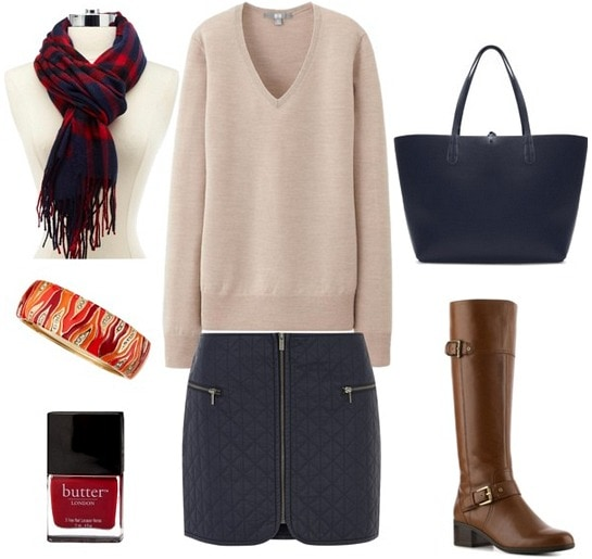Quilted skirt, sweater, and boots outfit