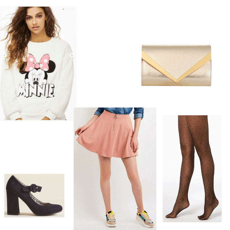 Outfit with faux fur Minnie Mouse sweatshirt, pink skater skirt, polka dot tights, envelope clutch, and block heel mary janes