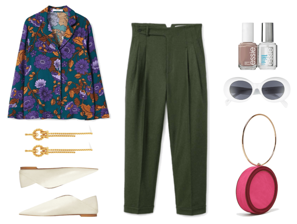"""Petrol blue pajama-style blouse with medium-darl purple, lavender orange, and brown floral print and slightly flared sleeves, gold twisted knot drop statement earrings, ecru pointed-toe shoes with slit detail and light-brown sole, khaki-green straight-leg, high-waisted pleated pants with asymmetrical closure; Essie Speed Setter Top Coat & """"Wild Nude"""" medium-beige Nail Polish Set, white oval-shaped sunglasses with gray lenses, fuchsia and burgundy round bag with large gold metal ring handle"""