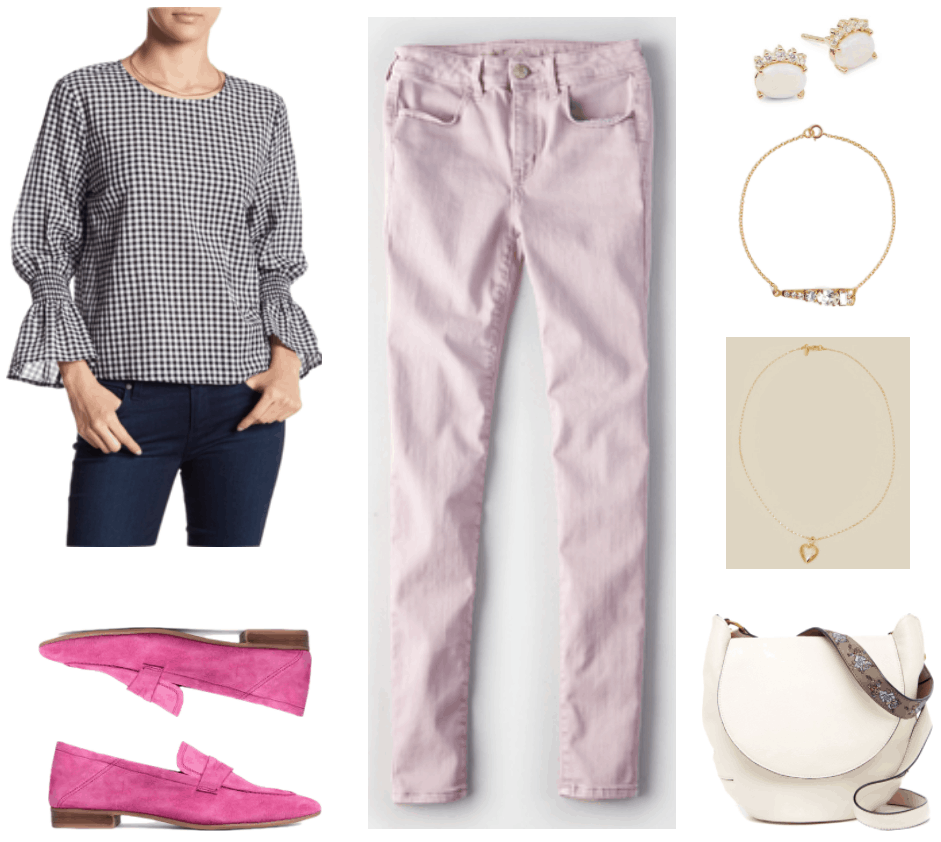 Black-and-white long- ruffle-sleeved gingham blouse, bright pink suede loafers, high-rise lavender jeggings, oval-shaped pink opal stud earrings set in gold with five tiny clear stones on top, gold bracelet with a rectangular crystal, an oval-shaped crystal, and round crystals of varying sizes set in a triangular formation, gold heart locket necklace with etched flower and star design, off-white saddle bag with gray strap with pale blue and pale pink floral embroidery
