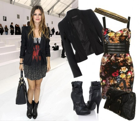 Outfit inspired by Rachel Bilson - Printed mini dress and blazer