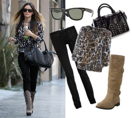 Outfit inspired by Rachel Bilson - Studded bag and printed top