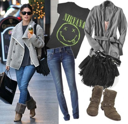 Outfit inspired by Rachel Bilson - Gray coat, jeans, and brown boots