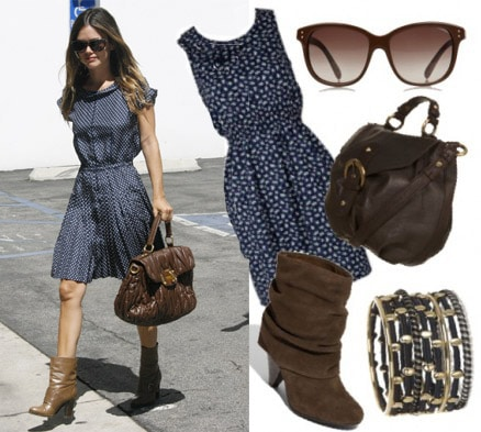 Outfit inspired by Rachel Bilson - Blue polka dot dress and high heeled brown boots