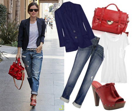 Outfit inspired by Rachel Bilson - Boyfriend jeans, red clogs, and a red bag