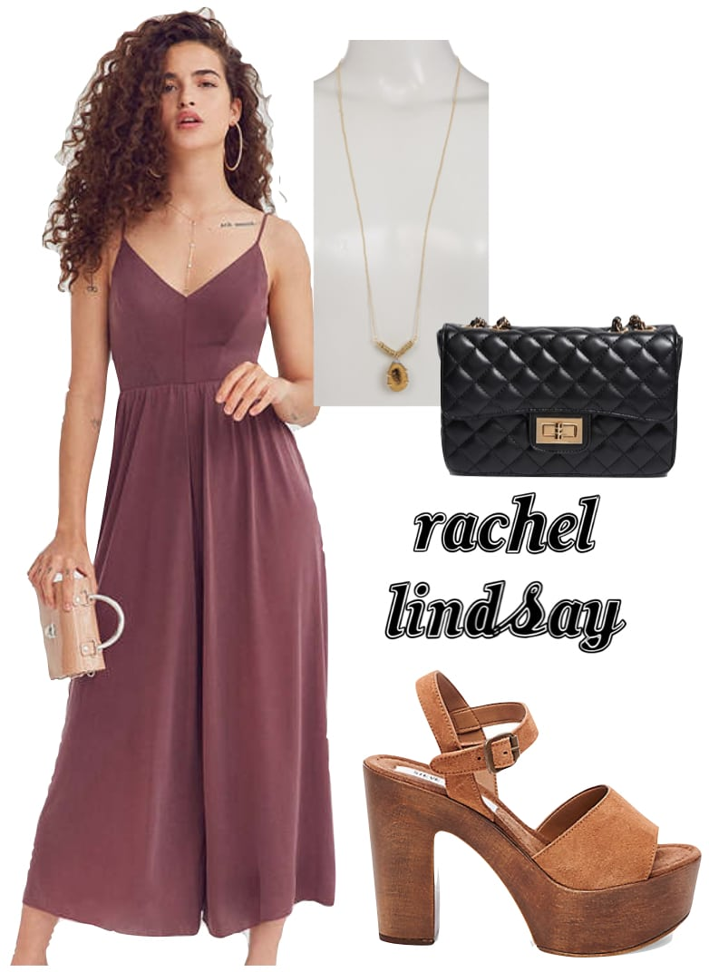 Rachel Lindsay Outfit: maroon jumpsuit, gold pendant necklace, black chain strap bag, brown platform wooden heel sandals