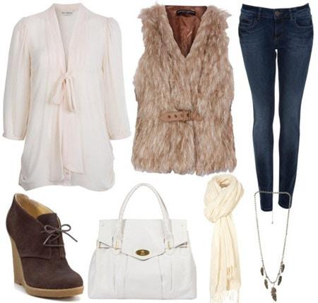 Rachel Zoe fall 2011 outfit 1: Fur vest, blouse, skinny jeans, wedge booties