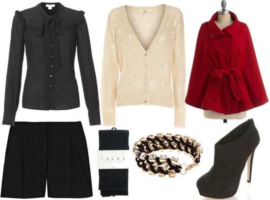 Rachel Zoe fall 2011 outfit 2: Black shorts, tights, blazer, cape coat, shiny cardigan