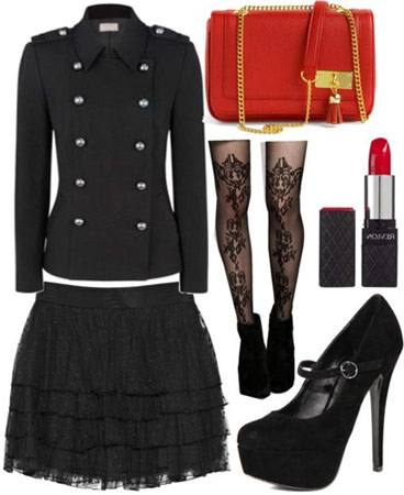 Rachel Zoe fall 2011 outfit 3: Military jacket, skirt, patterned tights, red statement bag