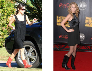 Rachel Bilson and Taylor Swift Wearing Cowboy Boots