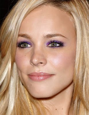 Rachel McAdams rocking purple eyeshadow
