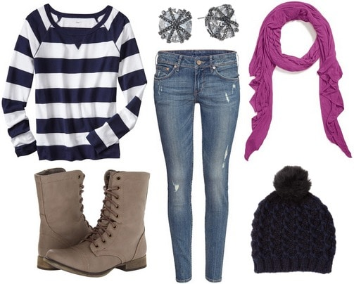 Radiant orchid scarf, navy stripe sweater, jeans, boots