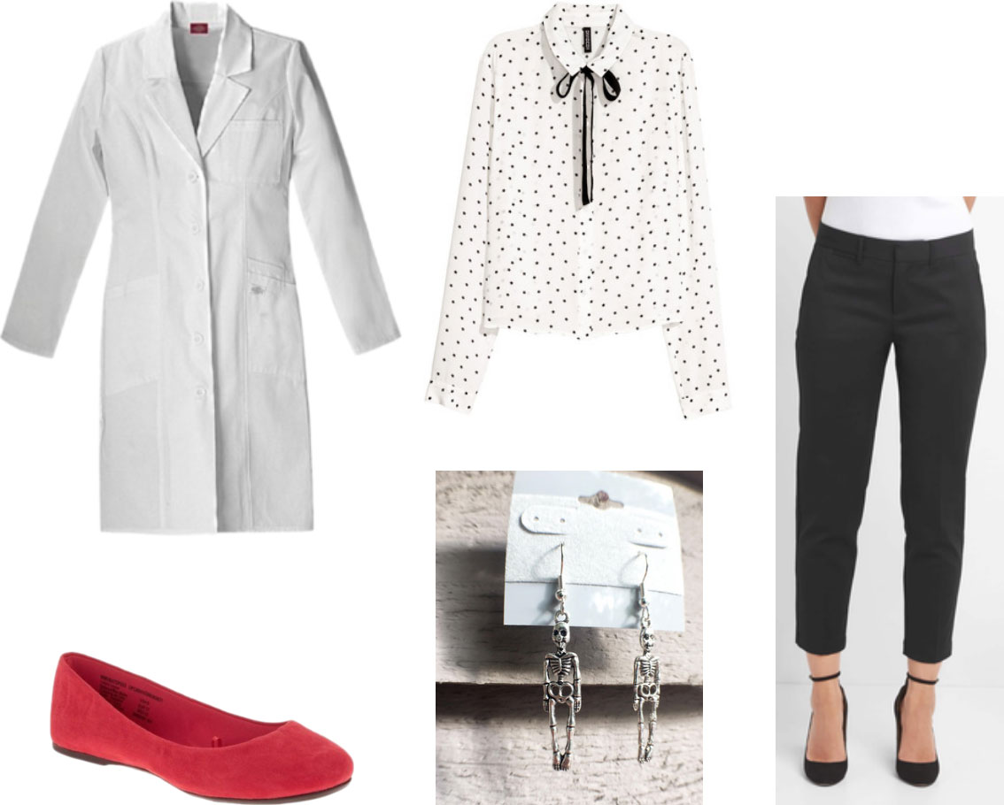 Radiology white coat outfit - polka dot blouse, nice black pants, red suede flats, skeleton earrings