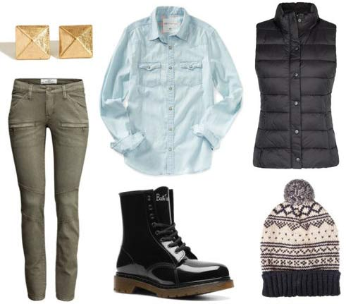How to wear rain boots with a puffer vest, chambray shirt, hat, earrings