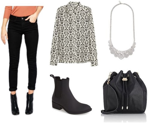 Cute rain boots outfit idea