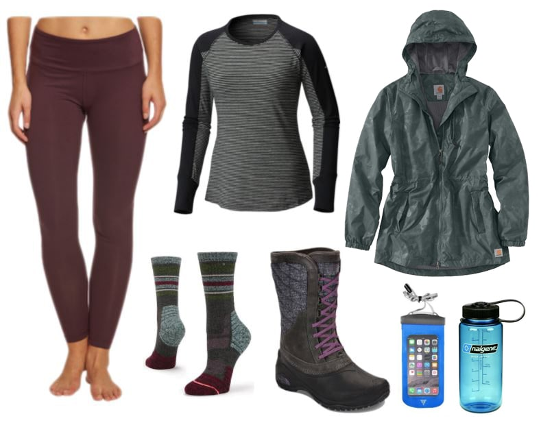 Hiking attire for rainy weather. Stay dry with a light-weight rain jacket, water-proof boots, and clothing made from wicking materials.