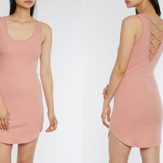 Rainbow Stores millennial pink body con dress with cris cross back detail - just $7!